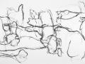 singing with Lou, 2010, crayon, mine de plomb, pastel gras, encre de chine et huile sur papier, 140 x 225 cm