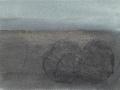 chemin faisant, se rafraîchir à l'horizon, 2018, mine de plomb, fusain, crayon aquarelle et huile sur papier, 12,1 x 16,4 cm