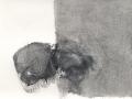 chemin faisant, se rafraîchir à l'horizon, 2018, mine de plomb, fusain et huile sur papier, 12,6 x 16,7 cm