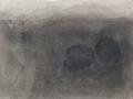 chemin faisant, se rafraîchir à l'horizon, 2018, mine plomb, fusain, crayon aquarelle et huile sur papier, 12,1 x 16,7 cm