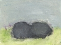se rafraîchir à l'horizon, 2019, mine de plomb, fusain, crayon aquarelle et huile sur papier, 13 x 17 cm