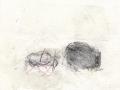 se rafraîchir à l'horizon, 2020, mine de plomb, fusain, crayon aquarelle et huile sur papier, 13,2 x 17,3 cm